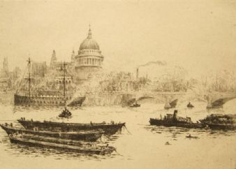 Antique etching 'St.Pauls, London' pencil signed; James Grant